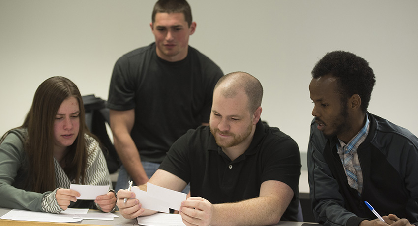 Worcester State University students group assignment classroom