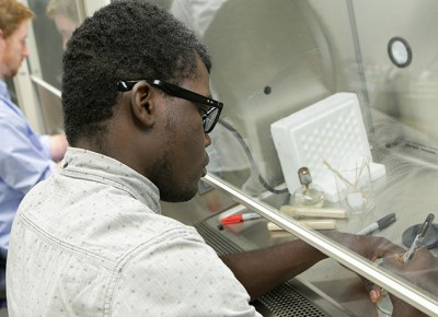 Worcester State University biology students in a lab
