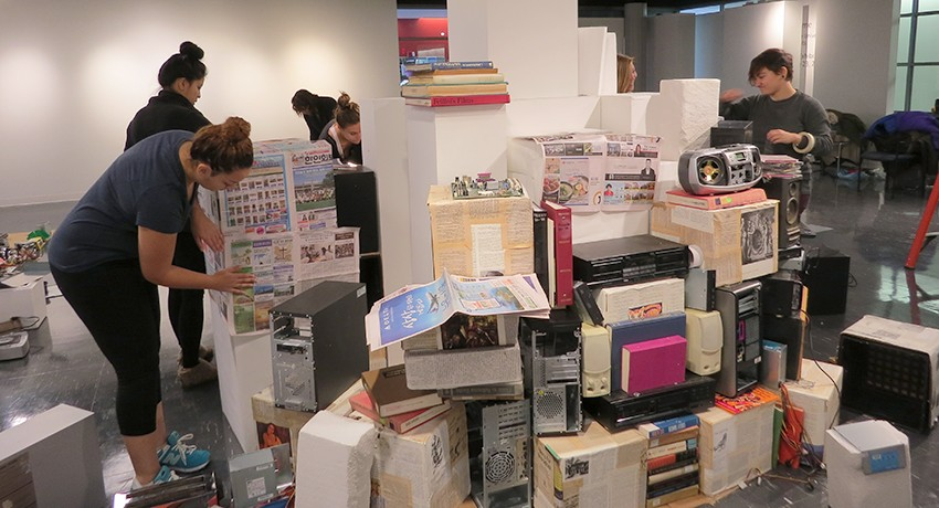 Students create Babel exhibit in Worcester State University's Dolphin art gallery.