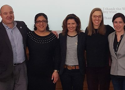Lisa DiGiovanni (center) stands with facullty in Worcester State University's World Languages Department