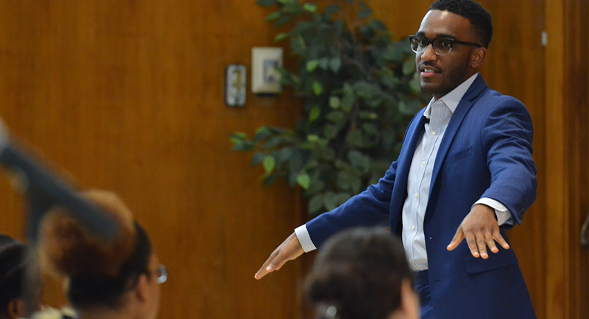 Nyle Fort speaks at Worcester State University