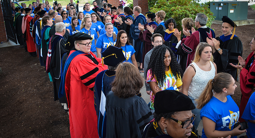 New Worcester State University students process to the Academic Convocation ceremony.