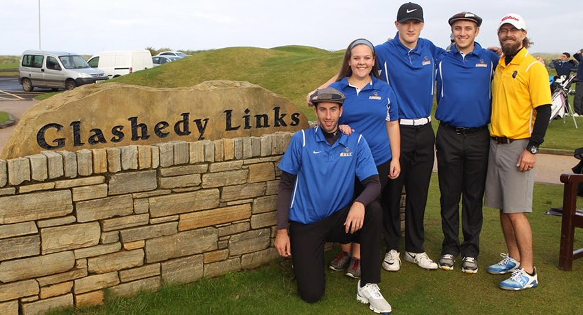 Members of the Worcester State Golf Team and coach in Ireland