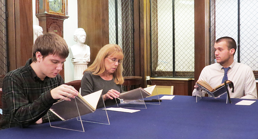 Worcester State history students in reading room of American Antiquarian Society