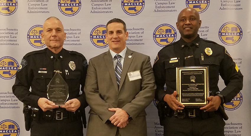 Worcester State University Police Officer Kevin Weigold, Police Chief Jason Kapurch, and former officer Ilyas Abu