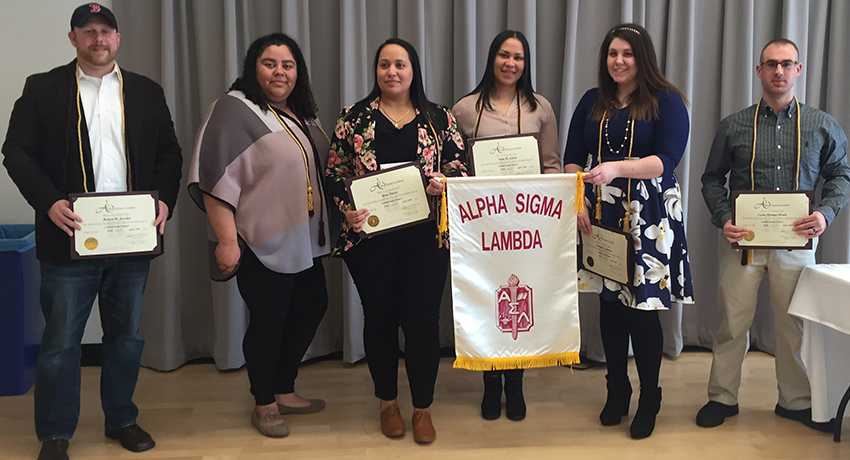 new members of Alpha Sigma Lambda honor society