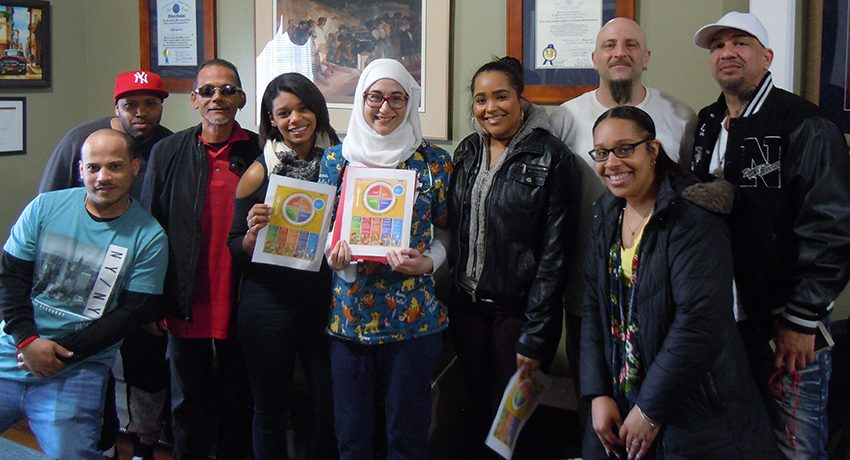 Worcester State students with residents of Reyes House