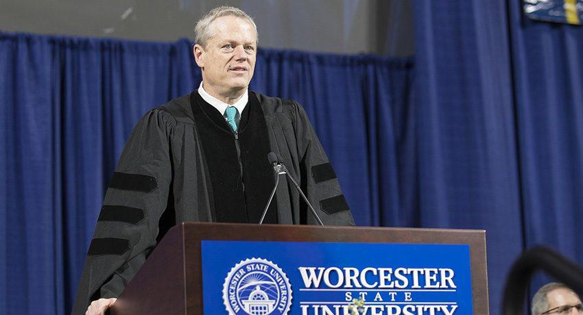 Massachusetts Governor Charlie Baker at Worcester State University Commencement